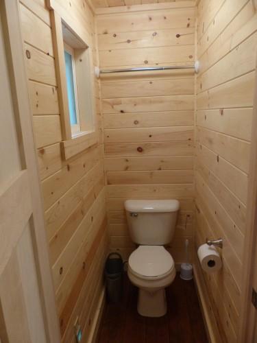 Master bedroom's toilet room.  The sink is in the bedroom.